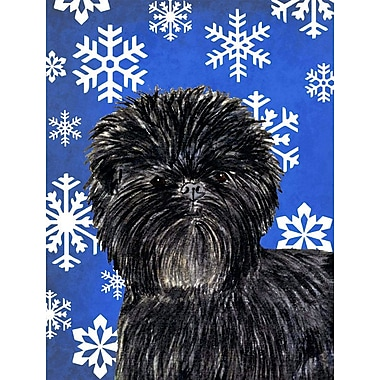 East Urban Home Winter Snowflakes Holiday 2-Sided Garden Flag; Affenpinscher