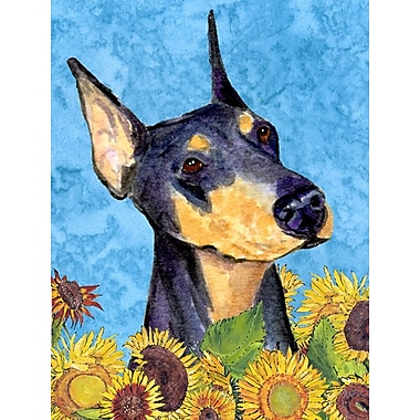 East Urban Home Dog and Sunflowers 2-Sided Garden Flag; Doberman (Purple and Beige)