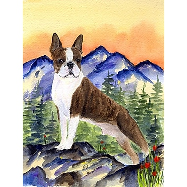 East Urban Home Dog and Mountain 2-Sided Garden Flag; Boston Terrier (Brown and White)