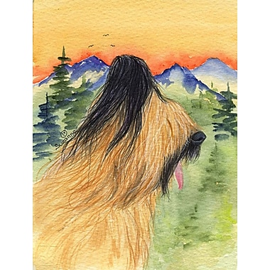 East Urban Home Dog and Mountain 2-Sided Garden Flag; Briard (Beige and Black)