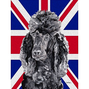 East Urban Home English Union Jack British Flag 2-Sided Garden Flag; Poodle (Black and Gary)