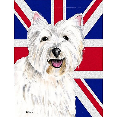 East Urban Home English Union Jack British Flag 2-Sided Garden Flag; Westie (White and Gary)