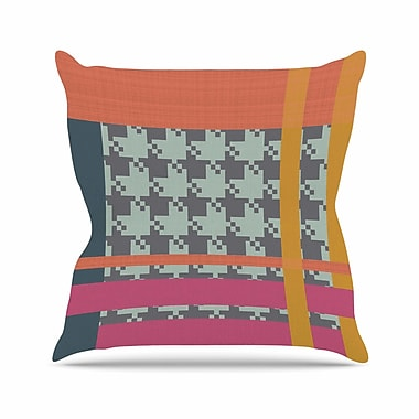 East Urban Home Pellerina Design Houndstooth Color Block Contemporary Outdoor Throw Pillow