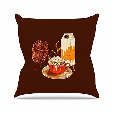 East Urban Home BarmalisiRTB Latte Art Illustration Outdoor Throw Pillow; 18'' H x 18'' W x 5'' D