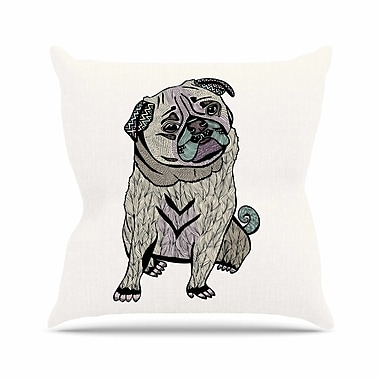 East Urban Home Pom Graphic Design Ares the Pug Outdoor Throw Pillow; 18'' H x 18'' W x 5'' D