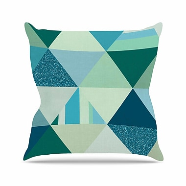 East Urban Home Noonday Design the Triangle Blues Geometric Outdoor Throw Pillow