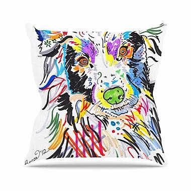 East Urban Home Rebecca Fisher Buzz Dog Outdoor Throw Pillow; 18'' H x 18'' W x 5'' D