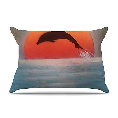 East Urban Home Infinite Spray Art 'Dolphin Sunset' Pillow Case