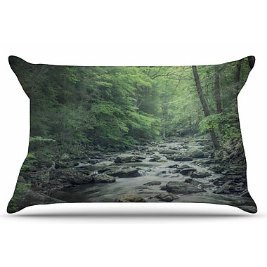 East Urban Home Suzanne Harford 'Misty Forest Stream' Nature Photography Pillow Case