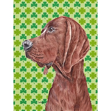 Caroline's Treasures St. Patrick's Day Shamrock House Vertical Flag; Coonhound (Brown)