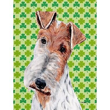 Caroline's Treasures St. Patrick's Day Shamrock House Vertical Flag; Fox Terrier (Brown & White)