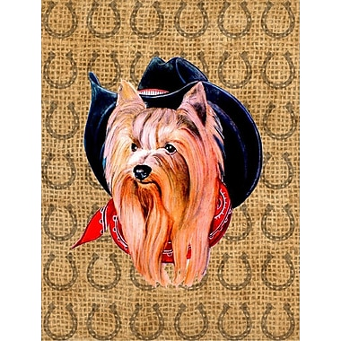 East Urban Home Horseshoe House Vertical Flag; Yorkie