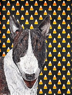 East Urban Home Candy Corn Halloween House Vertical Flag; Bull Terrier (White & Gray)