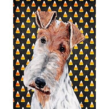 East Urban Home Candy Corn Halloween House Vertical Flag; Fox Terrier (White & Tan)