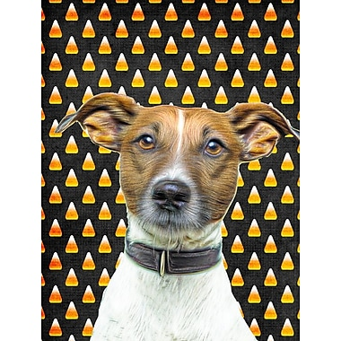 East Urban Home Candy Corn Halloween House Vertical Flag; Jack Russell Terrier (Brown)