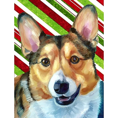 Caroline's Treasures Candy Cane Holiday Christmas House Vertical Flag; Corgi (White & Brown)