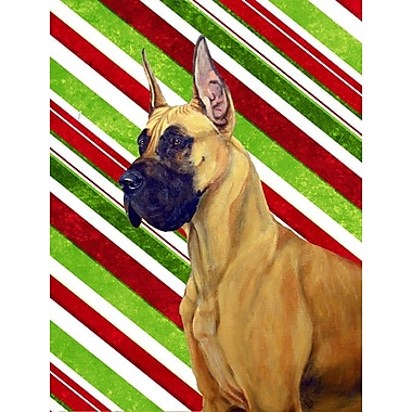 Caroline's Treasures Candy Cane Holiday Christmas House Vertical Flag; Great Dane 4