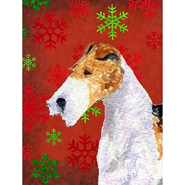 The Holiday Aisle Snowflakes Christmas House Vertical Flag; Fox Terrier (White & Yellow)