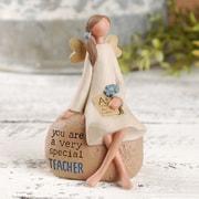 Winston Porter Teacher Angel w/ Flower on Rock Figurine