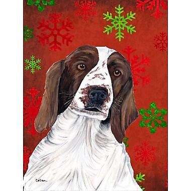 The Holiday Aisle Snowflakes Christmas House Vertical Flag; Welsh Springer Spaniel