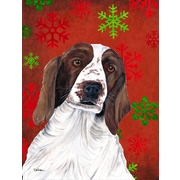 The Holiday Aisle Snowflakes Christmas House Vertical Flag; Welsh Springer Spaniel