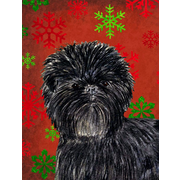 The Holiday Aisle Snowflakes Christmas House Vertical Flag; Affenpinscher