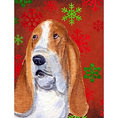 The Holiday Aisle Snowflakes Christmas House Vertical Flag; Basset Hound 4