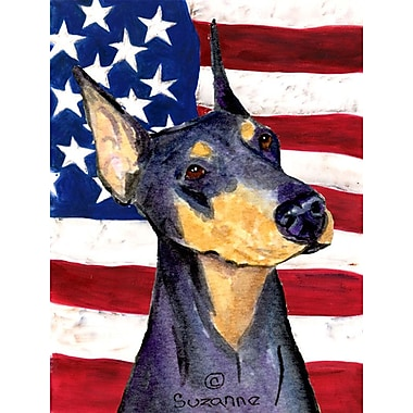 Caroline's Treasures USA American House Vertical Flag; Doberman 1