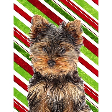Caroline's Treasures Candy Cane Holiday Christmas House Vertical Flag; Yorkie 3