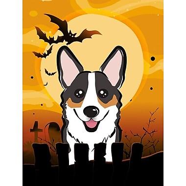 Caroline's Treasures Halloween 2-Sided Garden Flag; Corgi (Gray & White)