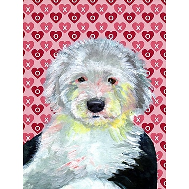 Caroline's Treasures Dalmatian Hearts Love and Valentine's Day House Vertical Flag; English Sheepdog