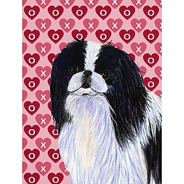 Caroline's Treasures Dalmatian Hearts Love and Valentine's Day House Vertical Flag; Japanese Chin