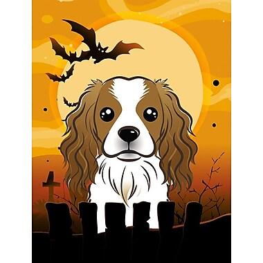 Caroline's Treasures Halloween Spook Vertical Flag; Cavalier Spaniel