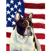 Caroline's Treasures American Flag 2-Sided Garden Flag; French Bulldog (Brown & White)
