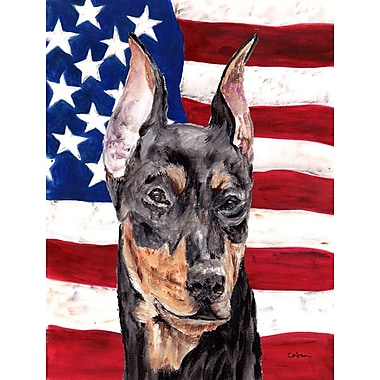 Caroline's Treasures American Flag 2-Sided Garden Flag; German Pinscher