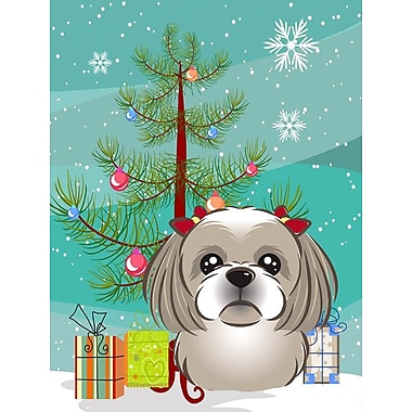 Caroline's Treasures Christmas Tree 2-Sided Garden Flag; Shih Tzu (Gray Silver)