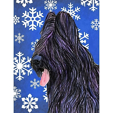 East Urban Home Winter Snowflakes Holiday 2-Sided Garden Flag; Briard