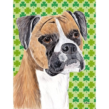 East Urban Home St. Patrick's Day Shamrock 2-Sided Garden Flag; Boxer (Beige and White)