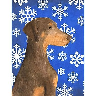 East Urban Home Winter Snowflakes Holiday 2-Sided Garden Flag; Doberman 2