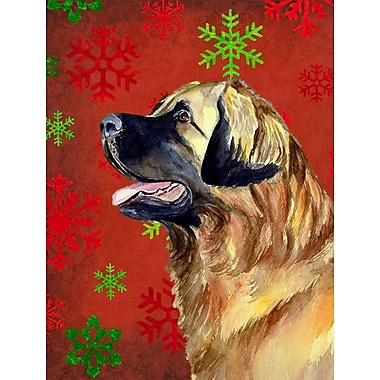 Caroline's Treasures Red and Green Snowflakes Holiday Christmas 2-Sided Garden Flag; Leonberger