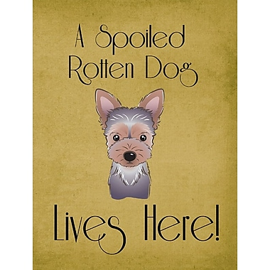 Caroline's Treasures Spoiled Dog Lives Here 2-Sided Garden Flag; Yorkie (Gray and Beige)