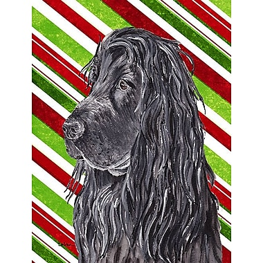 Caroline's Treasures Candy Cane Christmas House Vertical Flag; Cocker Spaniel (Black )