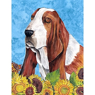 East Urban Home Dog and Sunflowers 2-Sided Garden Flag; Basset Hound (Brown and white)