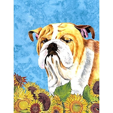East Urban Home Dog and Sunflowers 2-Sided Garden Flag; Bulldog (Yellow and white)