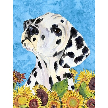 East Urban Home Dog and Sunflowers 2-Sided Garden Flag; Dalmatian (Black and White)
