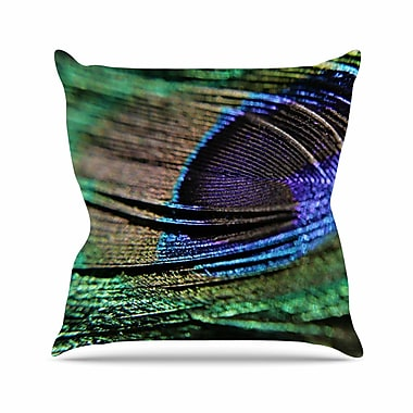 East Urban Home Angie Turner Peacock Feather Outdoor Throw Pillow; 16'' H x 16'' W x 5'' D