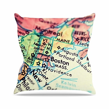 East Urban Home Debbra Obertanec Boston on the Time Outdoor Throw Pillow; 16'' H x 16'' W x 5'' D