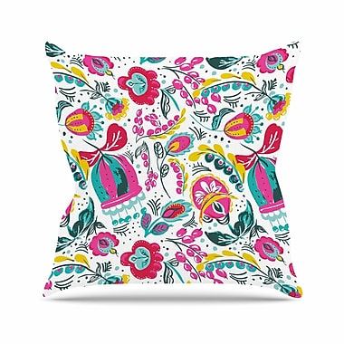 East Urban Home Agnes Schugardt Folk in the Field Floral Pattern Outdoor Throw Pillow
