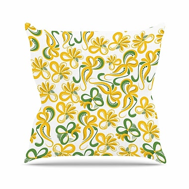 East Urban Home Maria Bazarova Green Flowers Abstract Digital Outdoor Throw Pillow