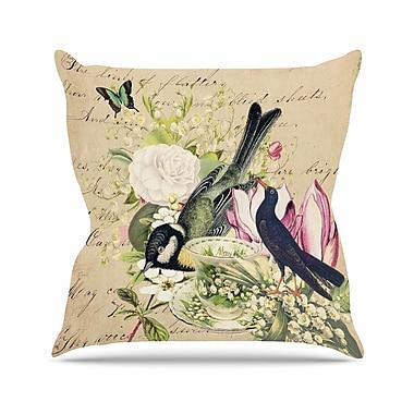 East Urban Home Suzanne Carter Vintage Tea Bird Illustration Outdoor Throw Pillow